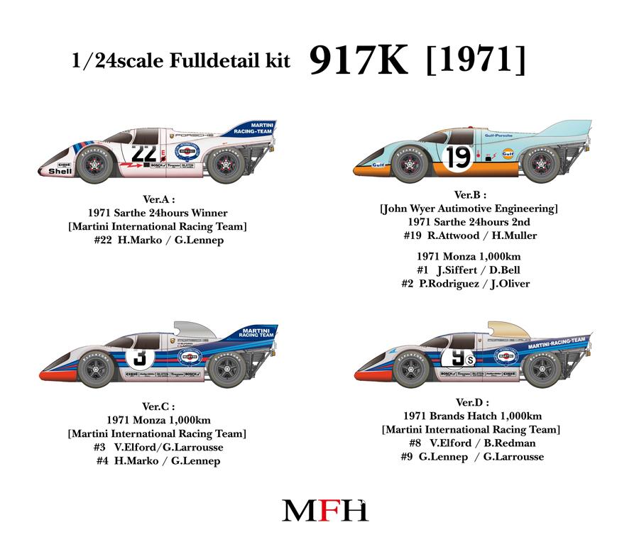 Porsche 917 K 1971 1 24 K448 K451 4 Different Kits Caren Exclusive Model Cars